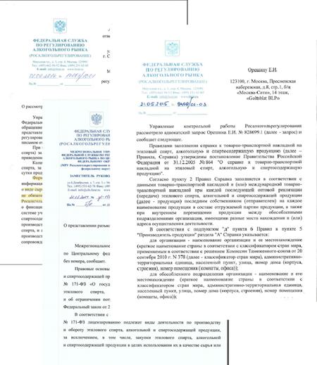 Ответы ФС РАР на запросы организаций алкогольного рынка